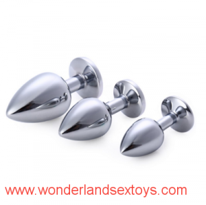 Three Sizes Aluminium Alloy Butt Plug Crystal Rhinestone Sex Products