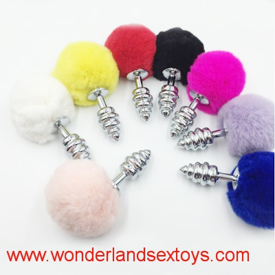 Rabbit Tail Anal Butt Plug Silver Soft Bunny Tail Plug Metal Sex Products Toys for Butt Stimulation