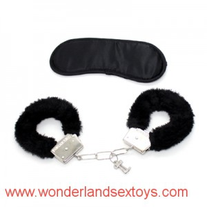 Adult Games 2 in 1 Fetish kit for couples dominance play eye mask wrist cuff leopard design