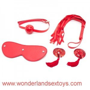 4 pcs/set red leather Bondage Set Kit contains mouth gag ,fetish whip ,blindfold ,nipple cover