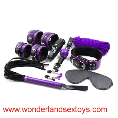 8 pcs/set Leather Bondage Set Kit Fetish Whip Blindfold Wrist cuffs ankle cuffs Gag rope(10m) Collar,BDSM Bed Restraint Sex Game Toys