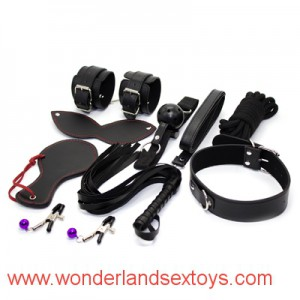 8 pcs/set Leather Bondage Set Kit Fetish Whip Blindfold Wrist cuffs ankle cuffs Gag rope(10m) Collar nipple clamp,BDSM Bed Restraint Sex Game Toys
