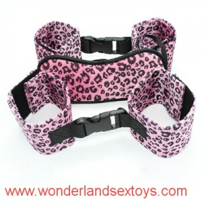 Adult Games 3 in 1 Fetish kit for couples dominance play eye mask wrist cuff ankle cuff leopard design