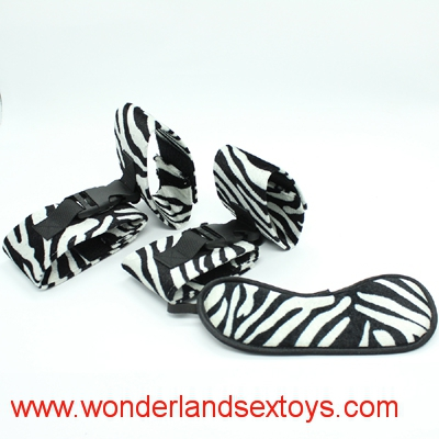 3 in 1 Fetish Sex Toys for Couples Sex Bondage Restraints Harness Set Kit, Handcuffs+Ankle Cuffs+Mask Adult Games Sex Products leopard design