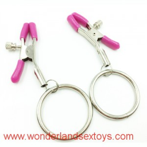 1 Pair Metal Nipple Clamps, Fetish Nipple Clips with O Ring, Adult Games, Tightness Adjustable, Sex Products