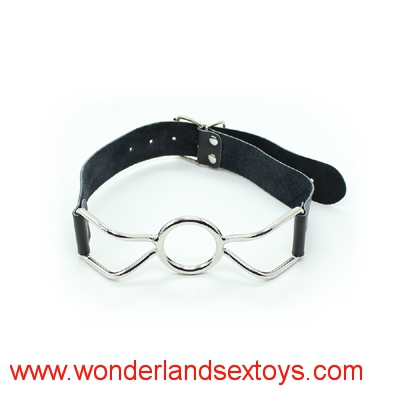 Leather sex toys Ring Gag Flirting Open Mouth with O-Ring during sexual bondage ,BDSM roleplay and adult erotic play for couples