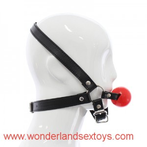 Black Leather open Mouth Gag Ball Breathable Fetish Collar Restraint mouth gag for sex ball gag bondage restraints adult games