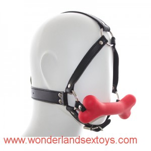 Oral sex Black silicone dog Bone Ball Gag Harness mouth gag, adult restraint mouth plug sex toy silicone ball gag for adult game