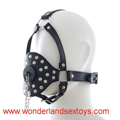 Leather Women Head Harness Gag Bondage Open Mouth Gag with Cap Restraint Adult Fetish Products