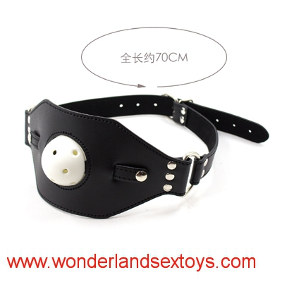 Leather Adjustable Open Mouth Gag Harness Sex Mask Fetish Bondage Head Harness Ball Gag Sex Toys for Couples Erotic Toy