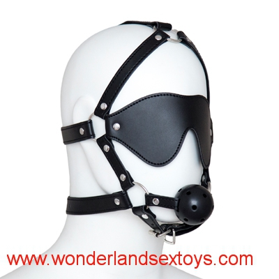Head Harness Ball Gag with Eye Mask Sex Blindfold Fetish Sex Toys for Couples Sex Game Bondage Erotic Toys Adult Sex Products