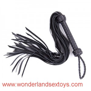 leather flogger whip abundant tails and braided handle sex game fun flirting sex toys sex flogger whip