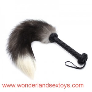Woven Leather Handle with Fox Tail Bondage Whip Sex Torture Adult Game BDSM Fetish Bondage Sex Toys For Couple