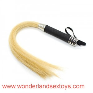 Yellow Horse Tail Black genuine leather whip handle adult games whip sex products erotic toys fetish