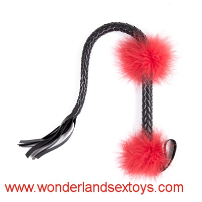 New weaving black whip with red feather decorating