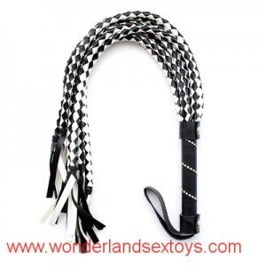 Diamond Handle Sexy Whip Black & White Pu Leather Lash Whips,Sex Toy For Couples, Adult Games,novelty Knout